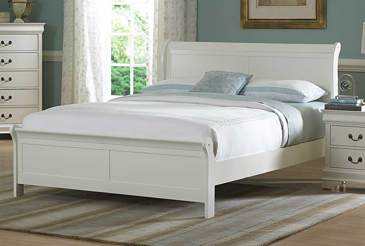 Homelegance marianne bed white 539w 1 for White full bedroom furniture