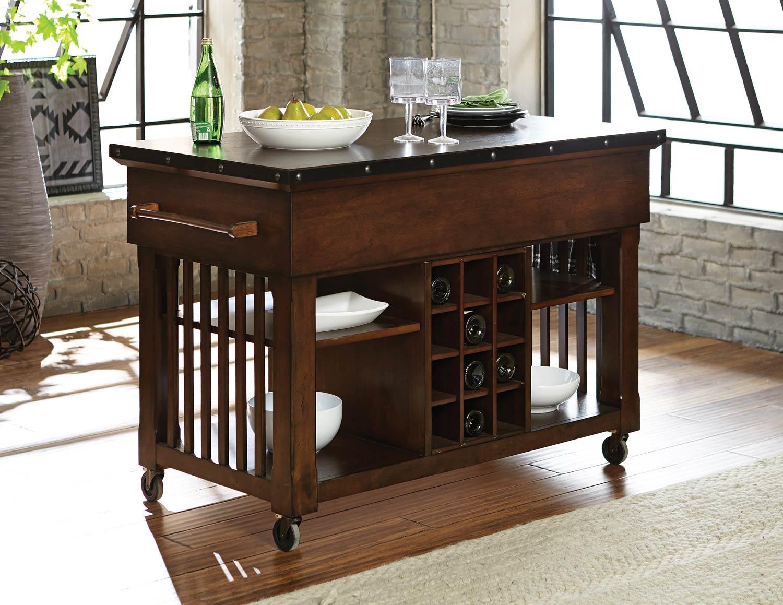 Homelegance Schleiger Kitchen Cart - Burnished Brown