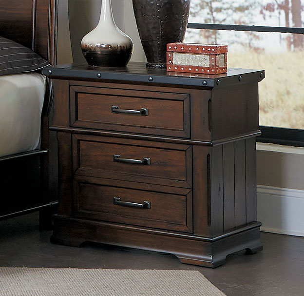 Homelegance Schleiger Night Stand - Burnished Brown
