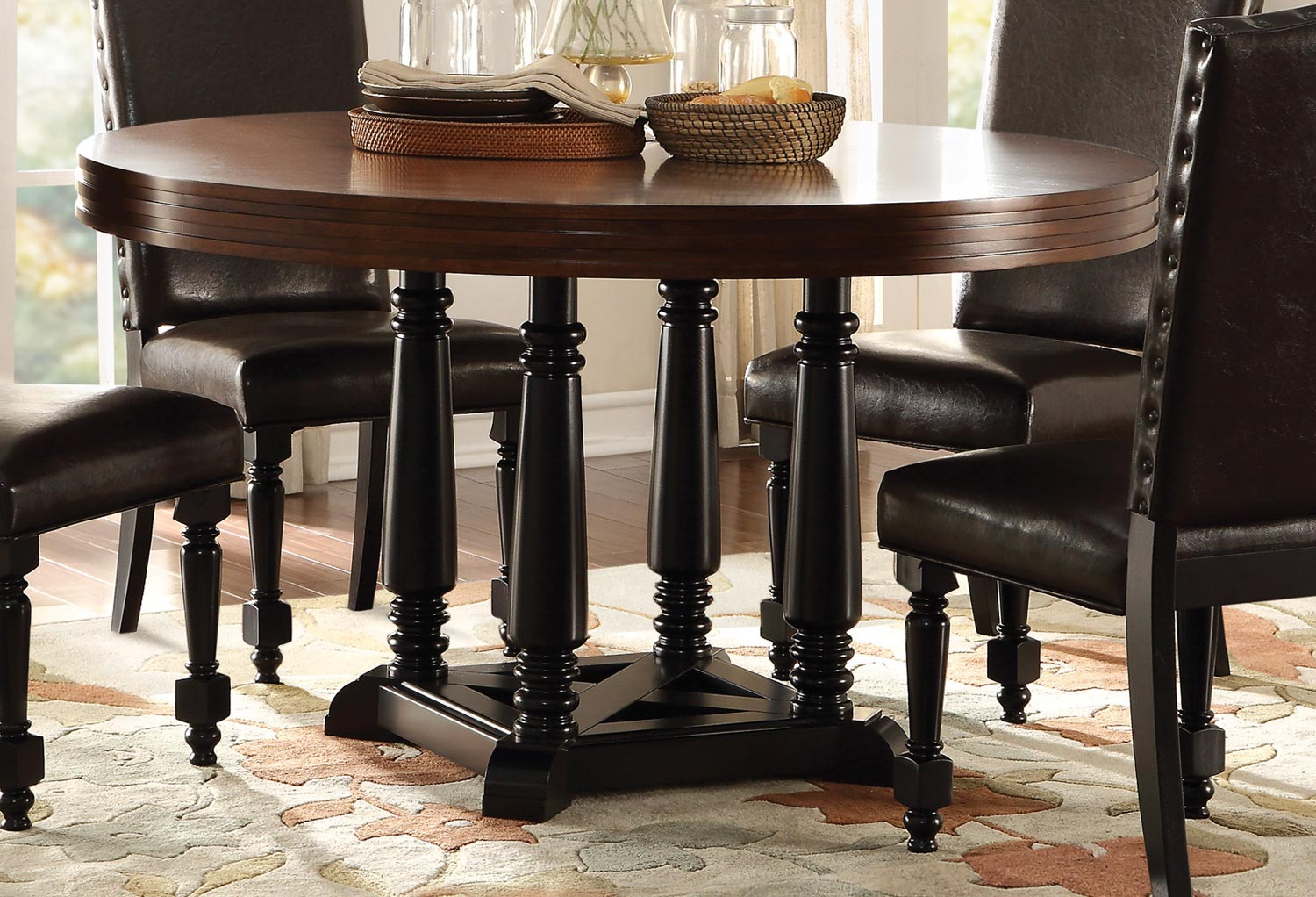 homelegance blossomwood round dining table cherry black 5404 54. Black Bedroom Furniture Sets. Home Design Ideas
