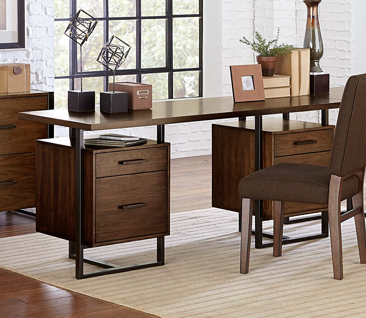 Homelegance Sedley Writing Desk with Two Cabinets - Walnut