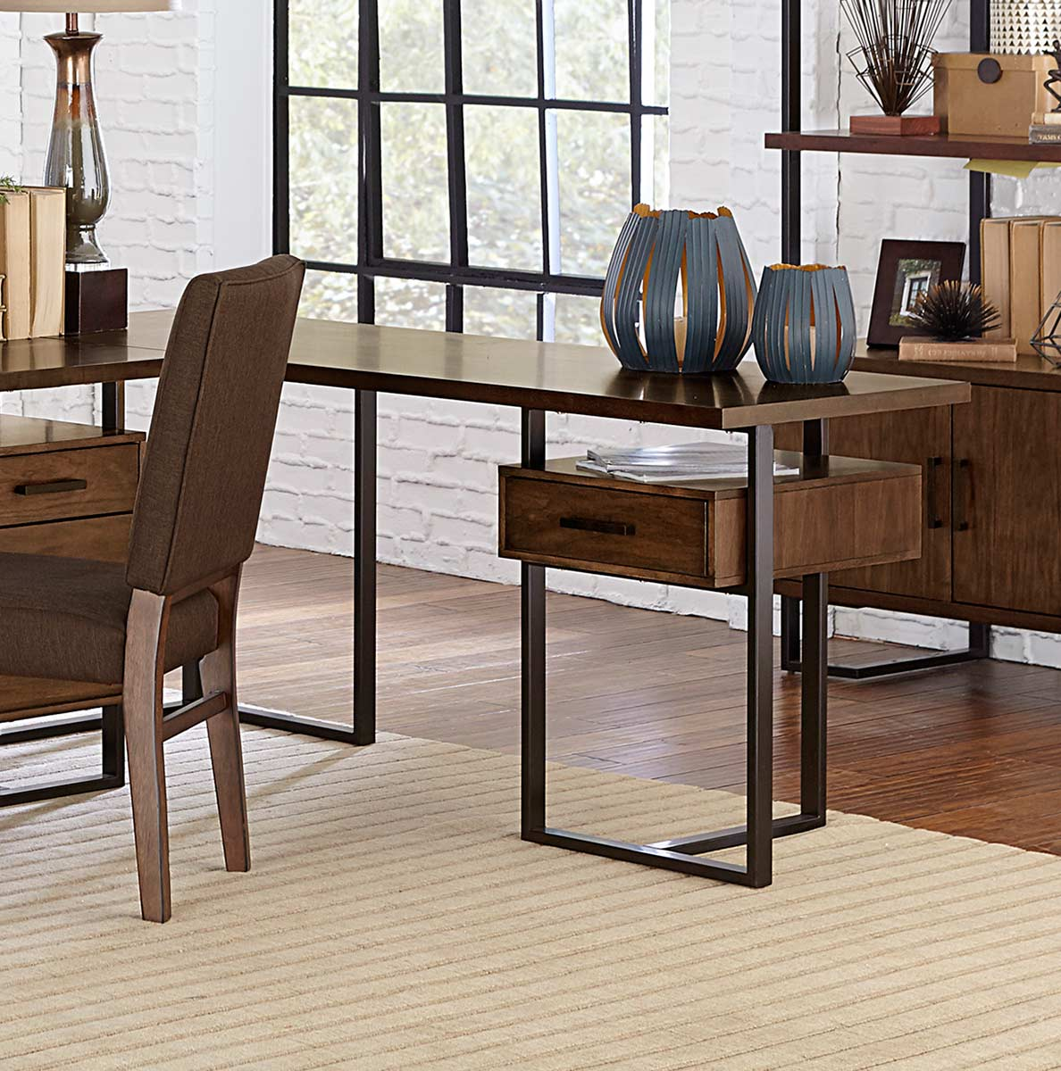 Homelegance Sedley Reversible Return Desk with One Cabinet - Walnut