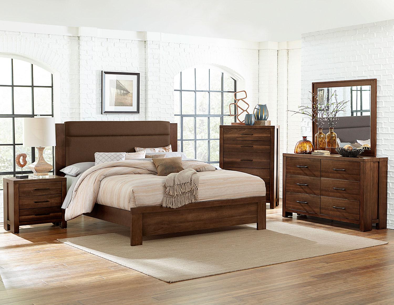 Homelegance Sedley Upholstered Bedroom Set - Walnut