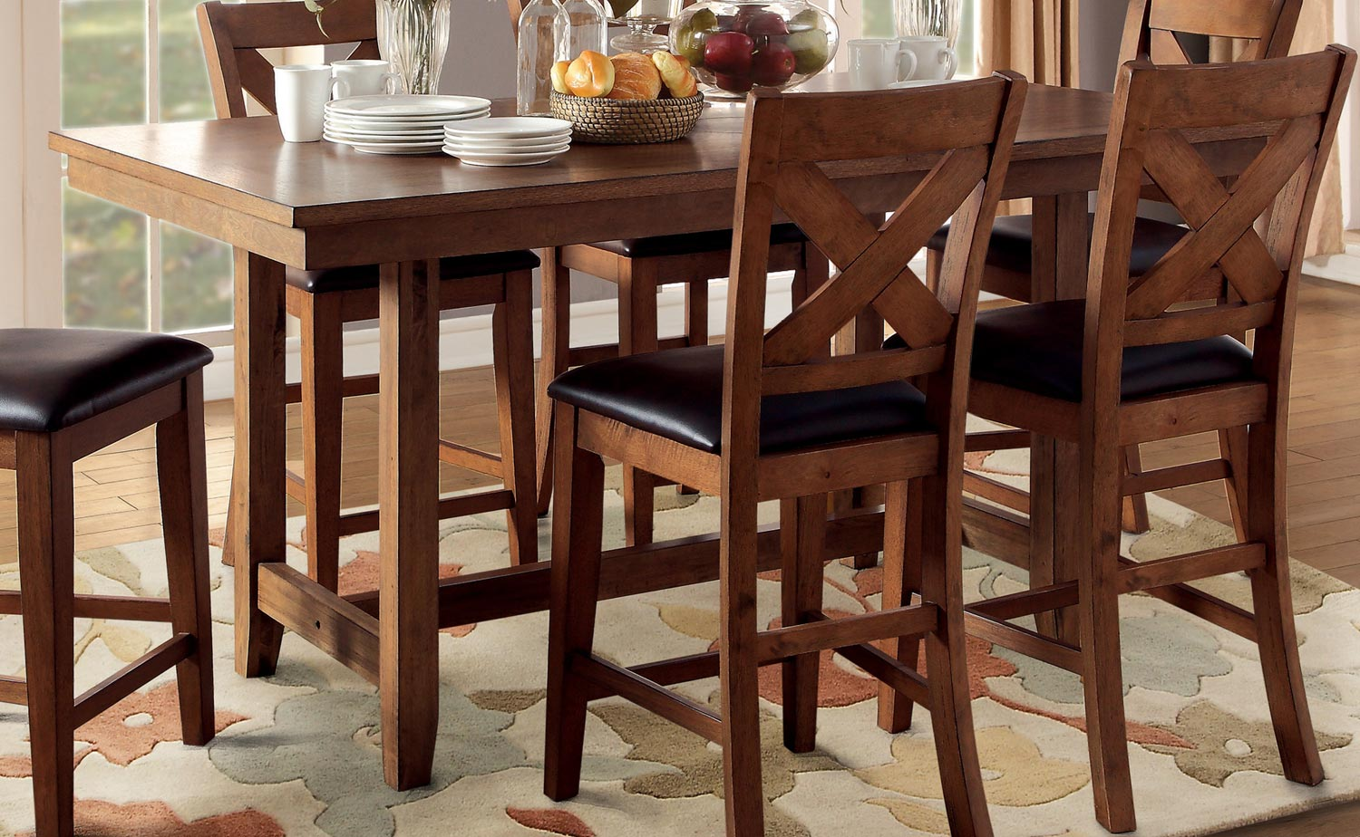 Homelegance Burrillville Trestle Counter Height Dining Set - Oak D5426 ...