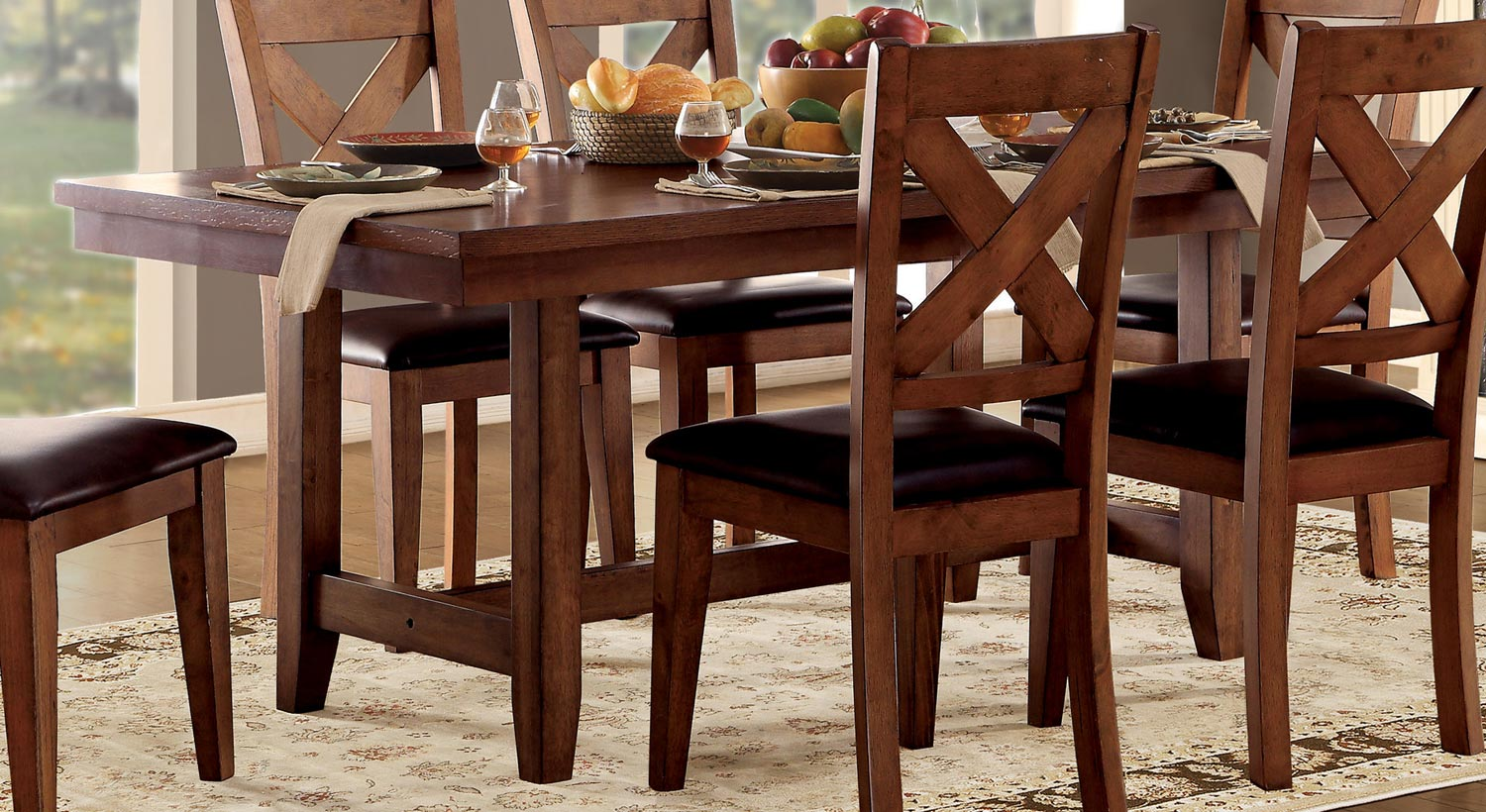 Homelegance Burrillville Trestle Dining Table Oak - 72 trestle dining table