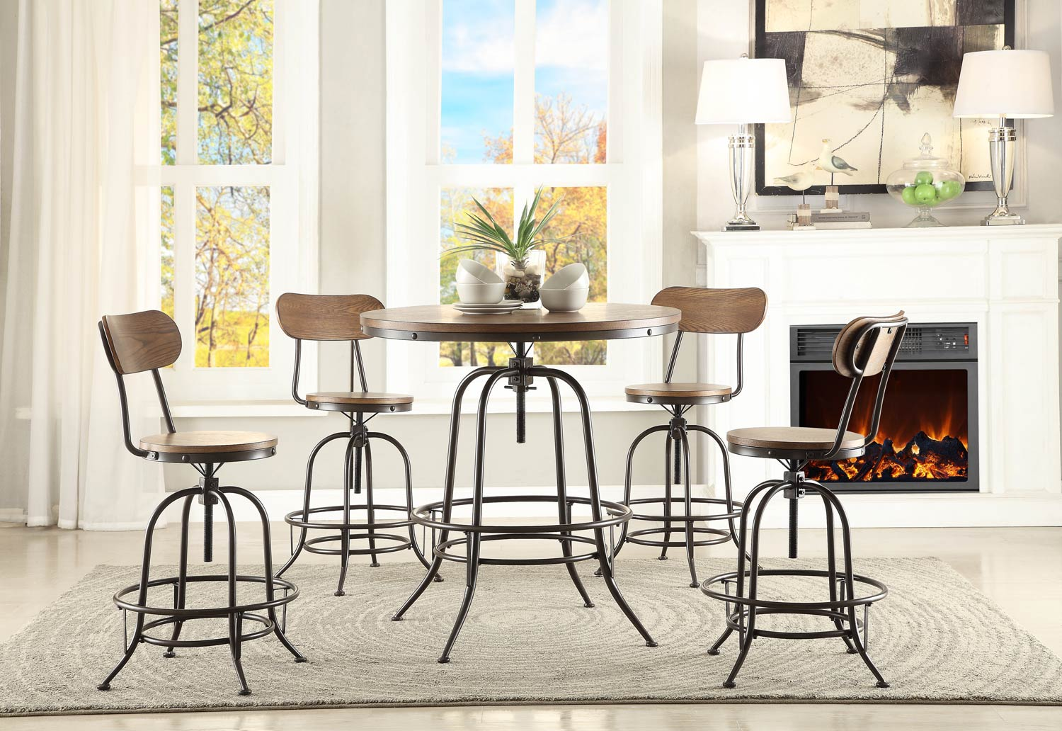 Homelegance Angstrom Round Counter Height Dining Set - Adjustable Height A