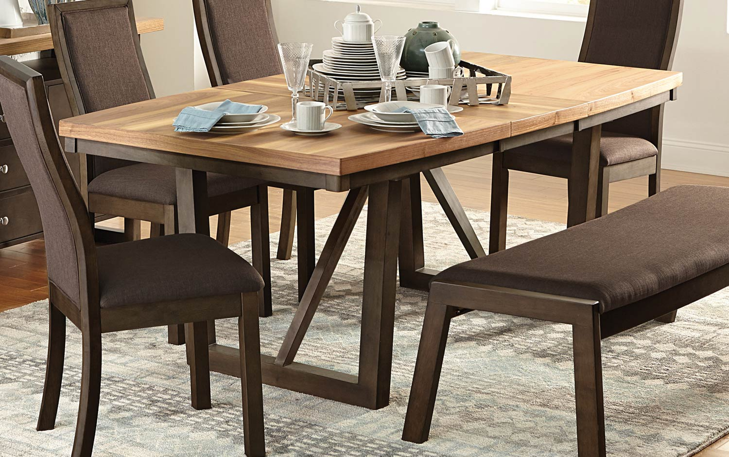 Homelegance Compson Dining Table - Natural/Walnut