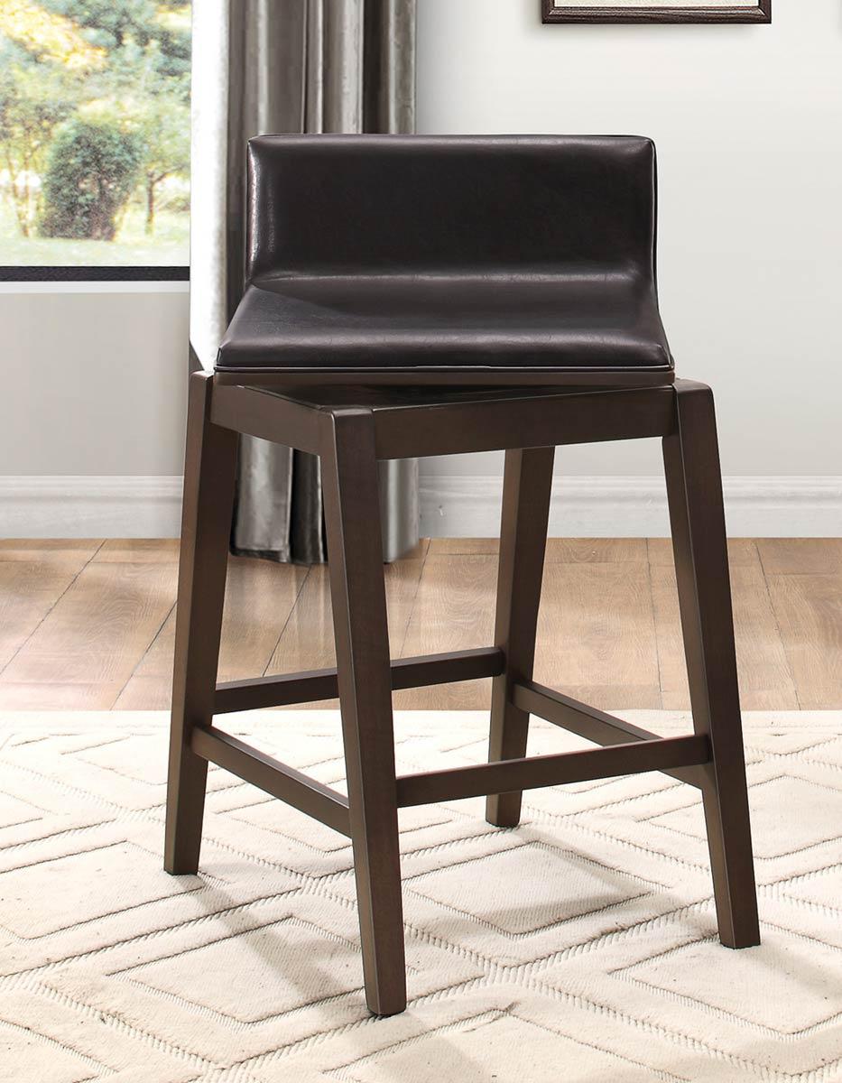 Homelegance Rochelle Swivel Counter Height Chair - Dark Brown Bi-Cast