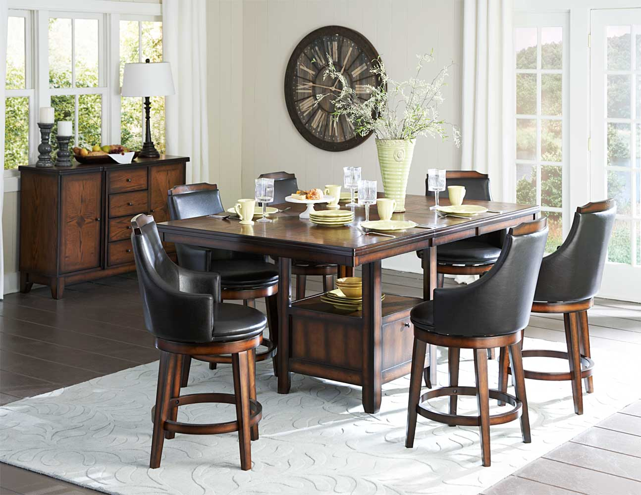 Homelegance Bayshore Counter Height Dining Set - Medium Walnut