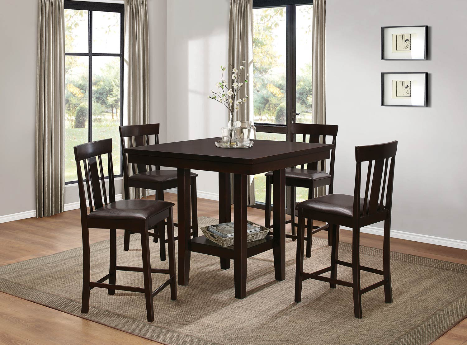 Homelegance Diego Counter Height Dining Set   Espresso