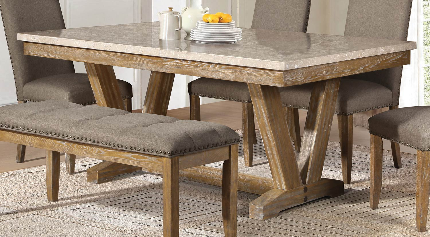 Homelegance Jemez Dining Table Faux Marble Top Weathered Wood 5470 72 P 76974 on Weathered Oak Bedroom Furniture