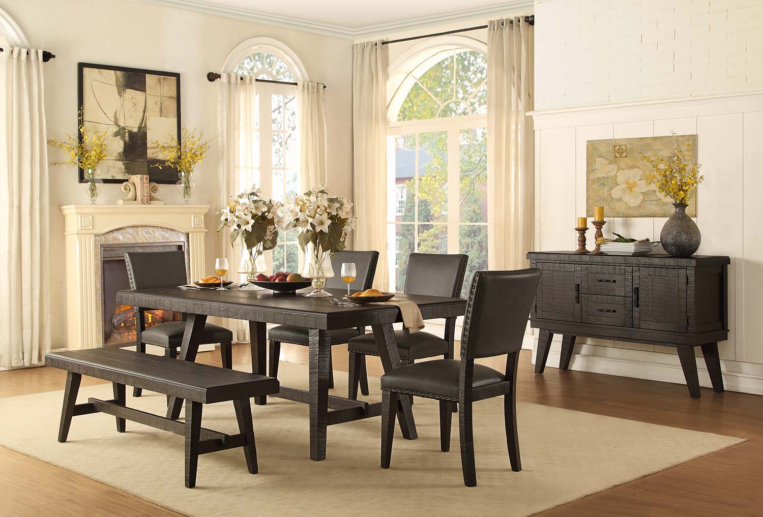 Homelegance Fenwick Rectangular Dining Set - Dark Gray