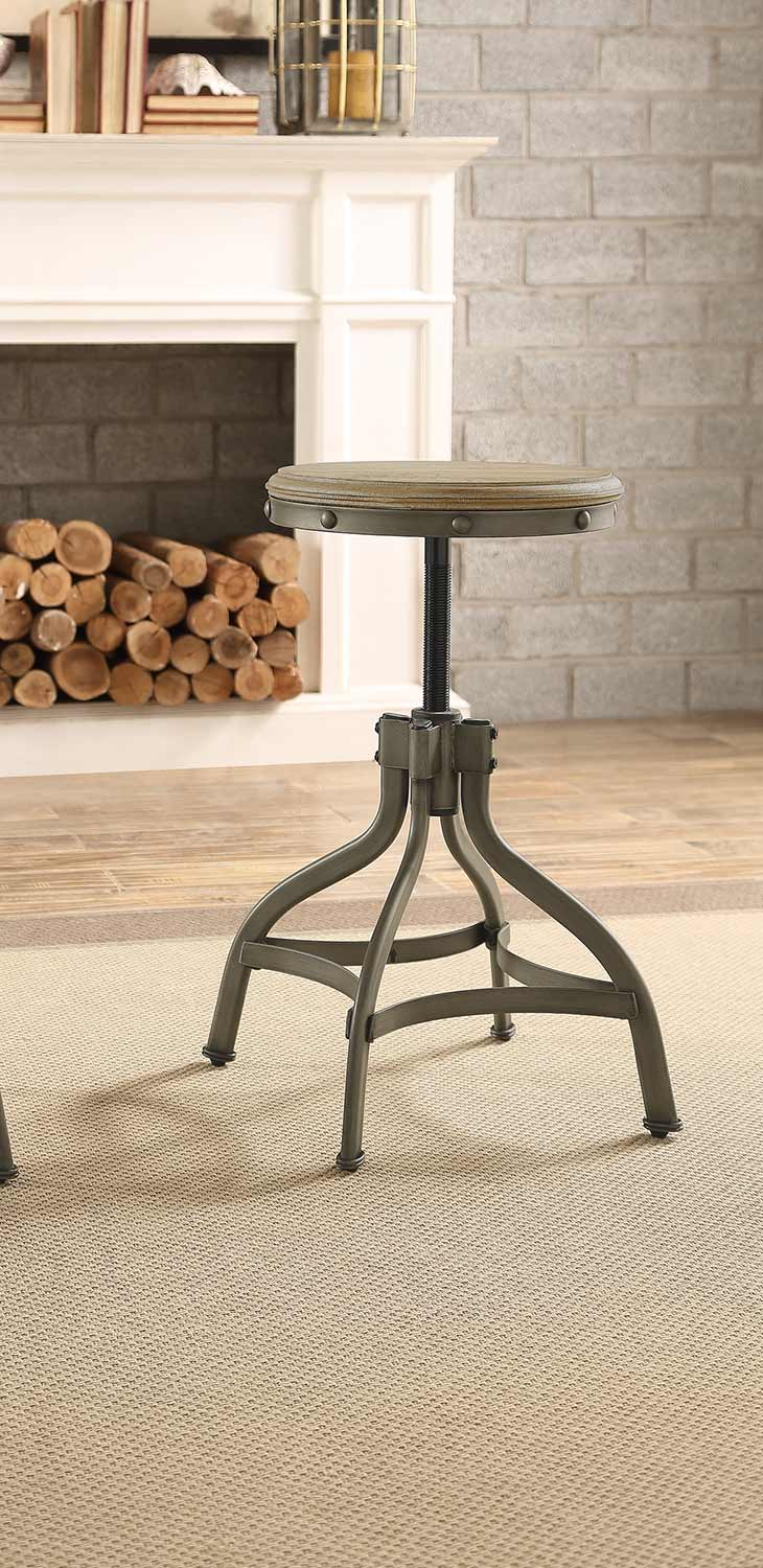 Homelegance Beacher Round Adjustable Height Round Stool - Weathered Wood Veneer
