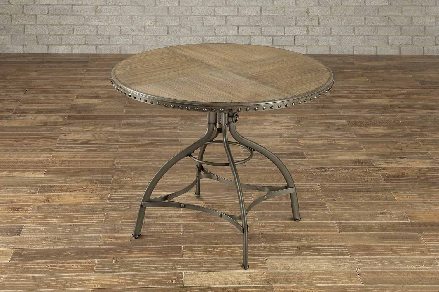 Homelegance Beacher Round Adjustable Height Dining Table - Weathered Wood Veneer
