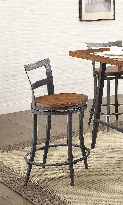Homelegance Selbyville Swivel Counter Height Chair - Cherry/Gunmetal