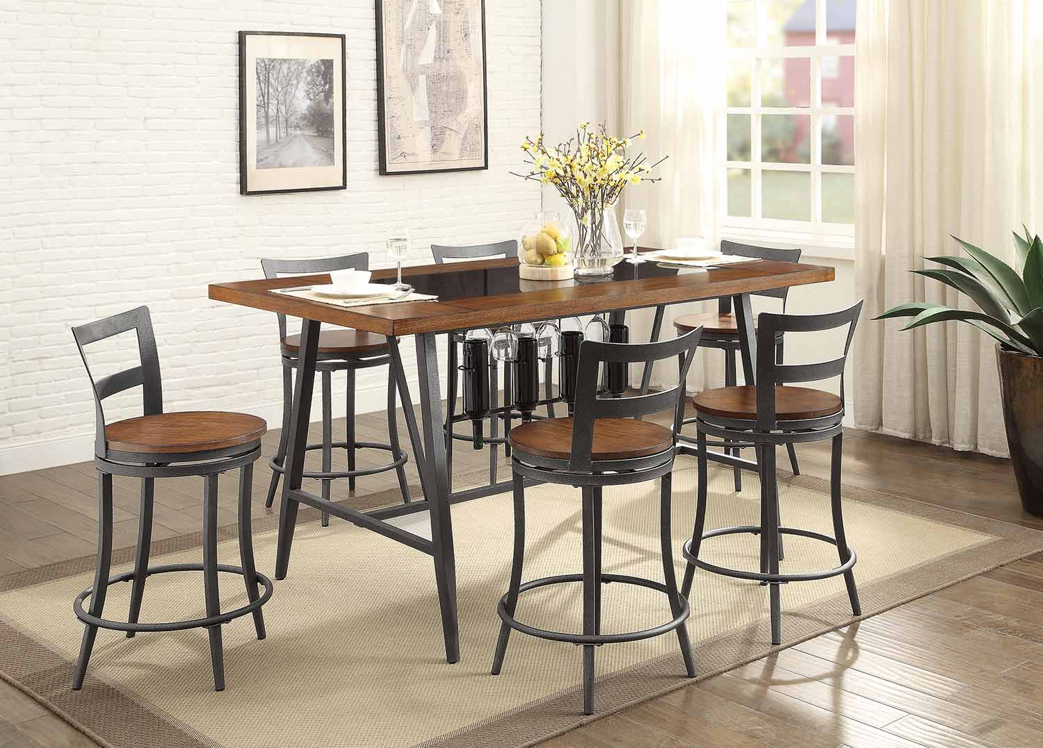 Homelegance Selbyville Rectangular Counter Height Dining Set - Cherry/Gunmetal