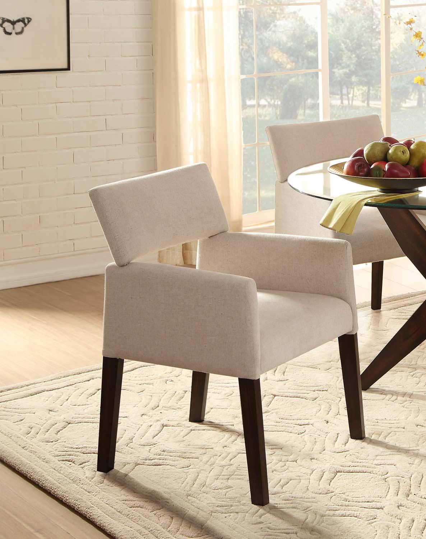 Homelegance Massey Beige Arm Chair - Espresso