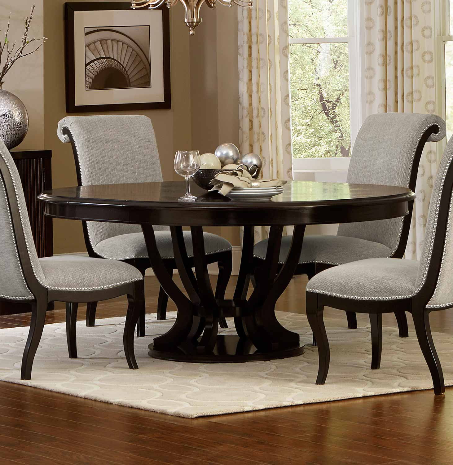 Homelegance Savion RoundOval Dining Table With Leaf Espresso - Oval dinner table