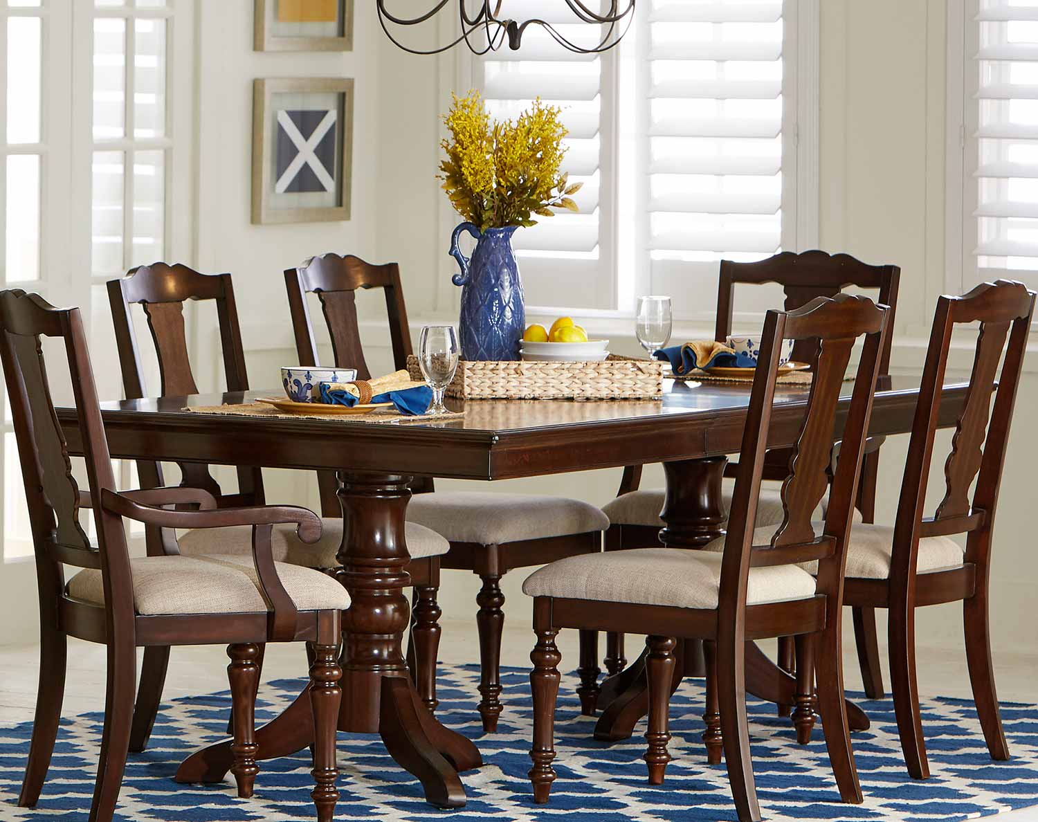 Homelegance Glendive Double Pedestal Dining Table with Leaf - Brown Cherry