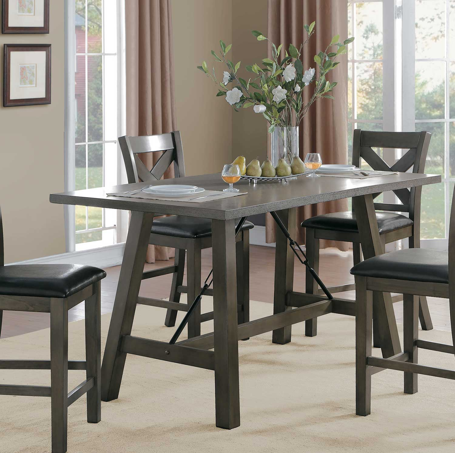 Homelegance Seaford Rectangular Counter Height Dining Table - Gray tone