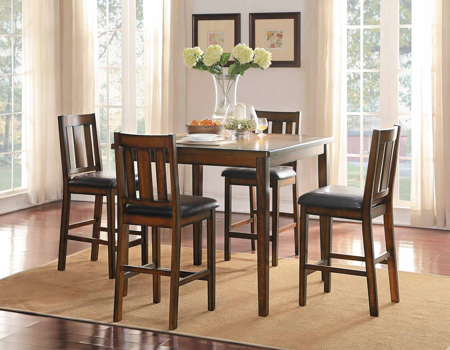 Homelegance Delmar 5- Piece Pack Counter Height Dining Set - Burnish Finish