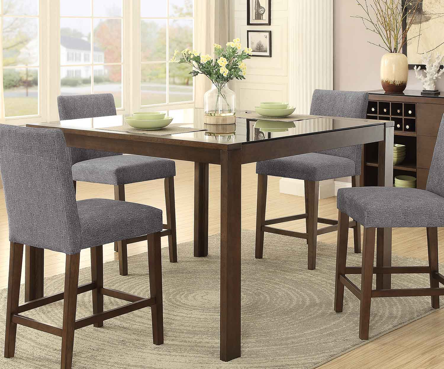 Homelegance Fielding Rectangular Counter Height Dining Table with Black Glass Insert - Brown