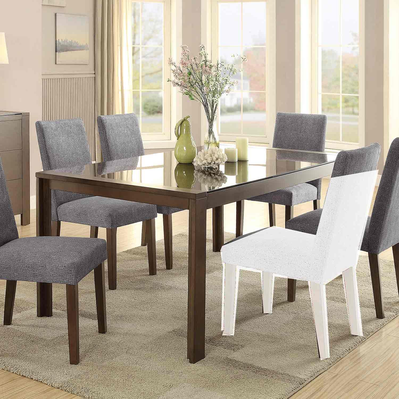 Homelegance Fielding Rectangular Dining Table with Black Glass Insert - Brown