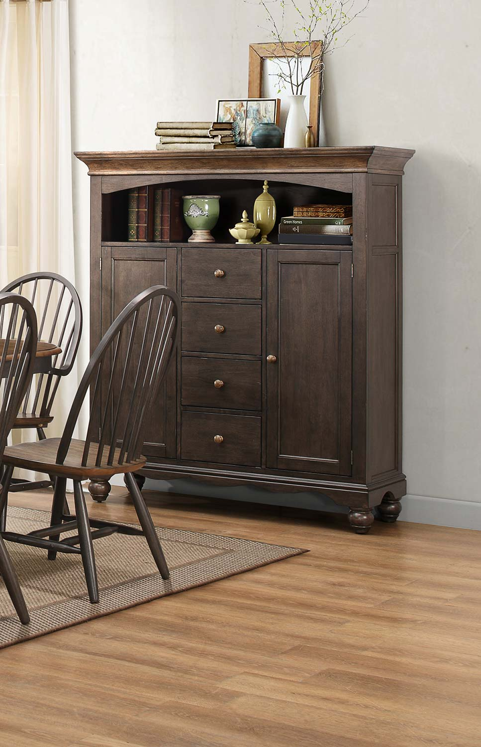 Homelegance Cline Curio - Two tone finish