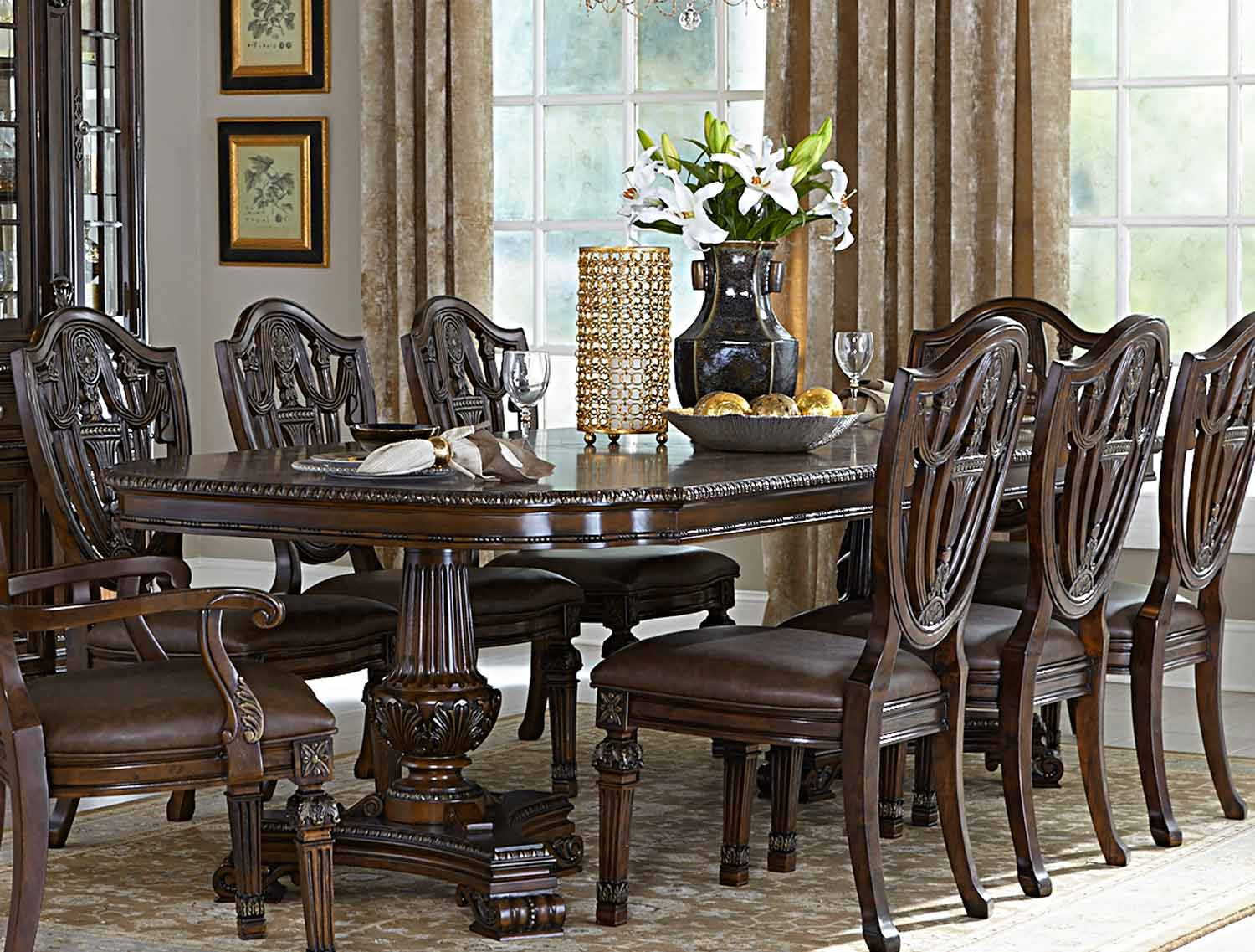 Homelegance Chilton Double Pedestal Dining Table with Leaf - Cherry