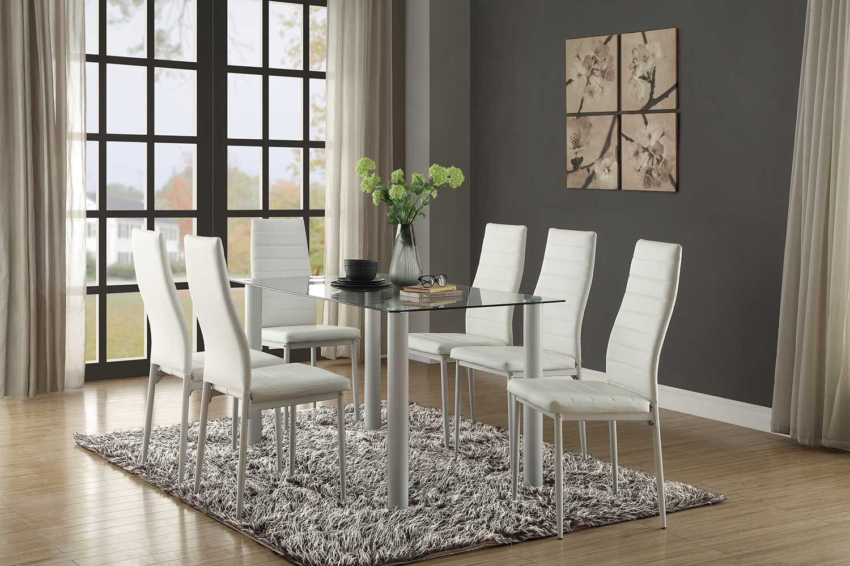 Homelegance Florian Rectangular White Dining Set