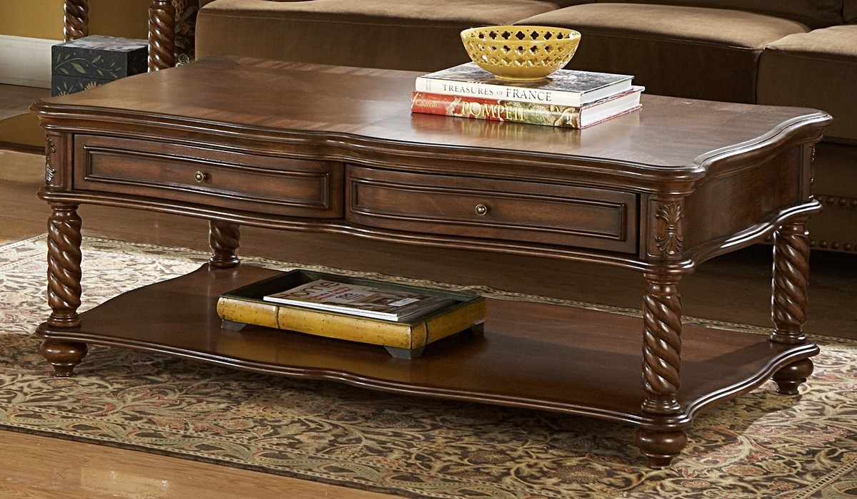 Homelegance Trammel Cocktail Table with Drawer