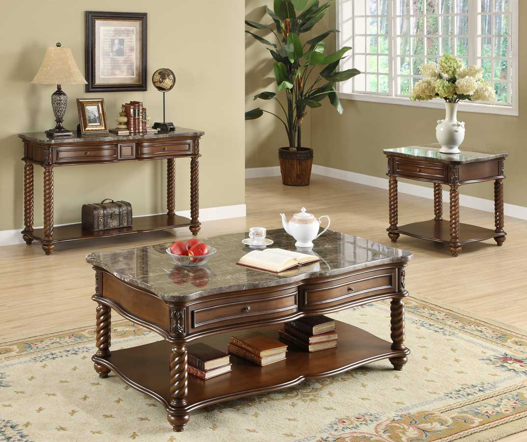 Homelegance Lockwood Occasional Table Set - Brown Mahogany