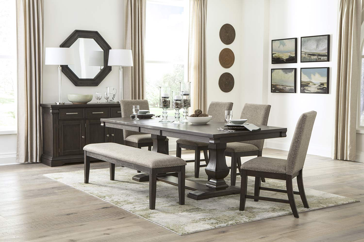 Homelegance Southlake Dining Set - Wire-brushed Rustic Brown