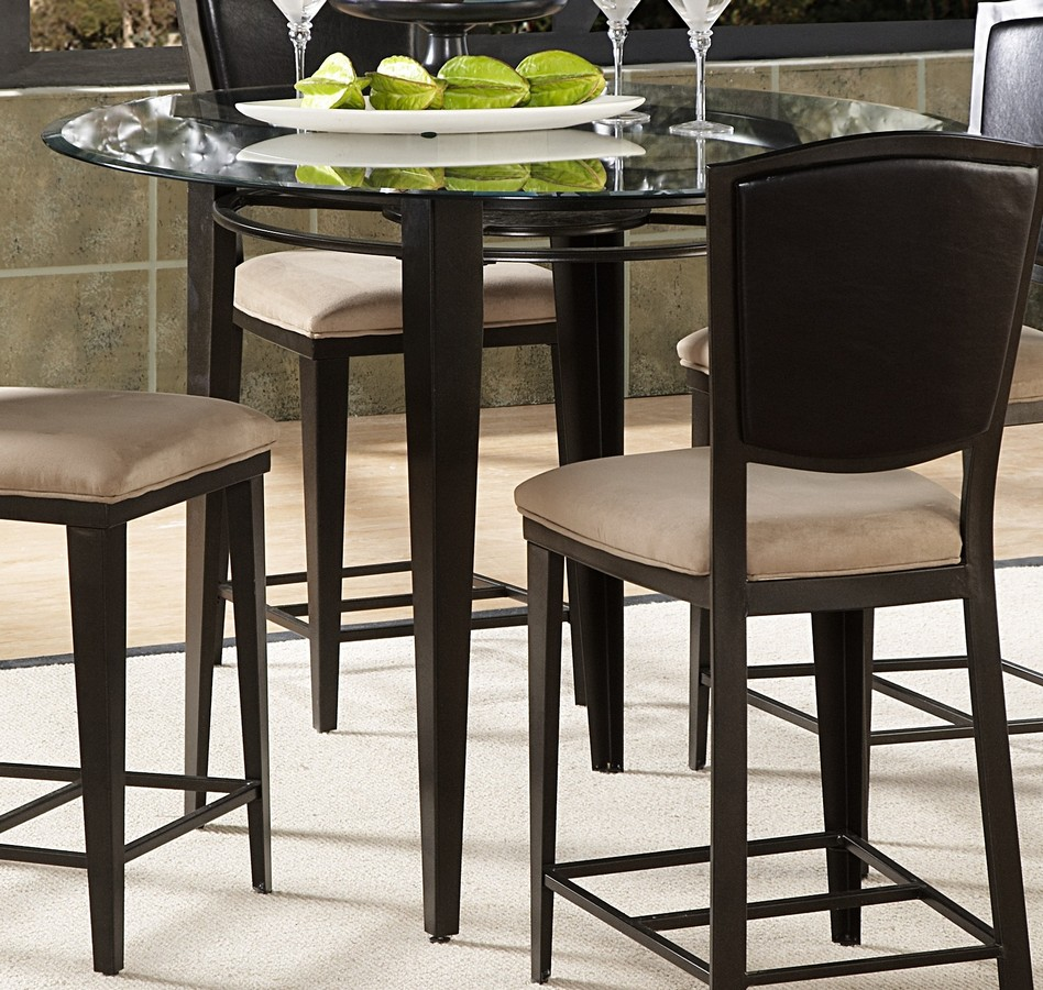 Homelegance Rockdale Counter Height Dining Table With 45in Round Glass Top