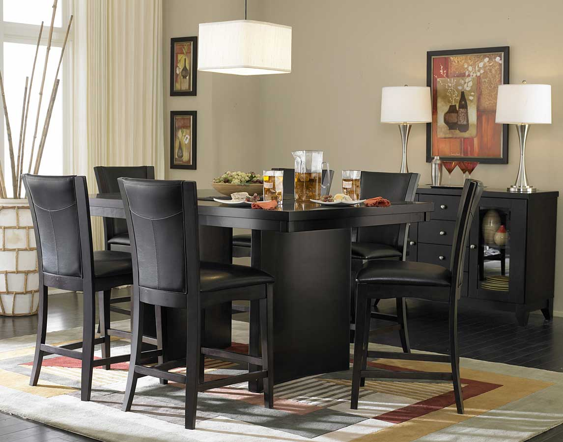 Homelegance daisy counter height dining set d710 36 set for Black dining room furniture