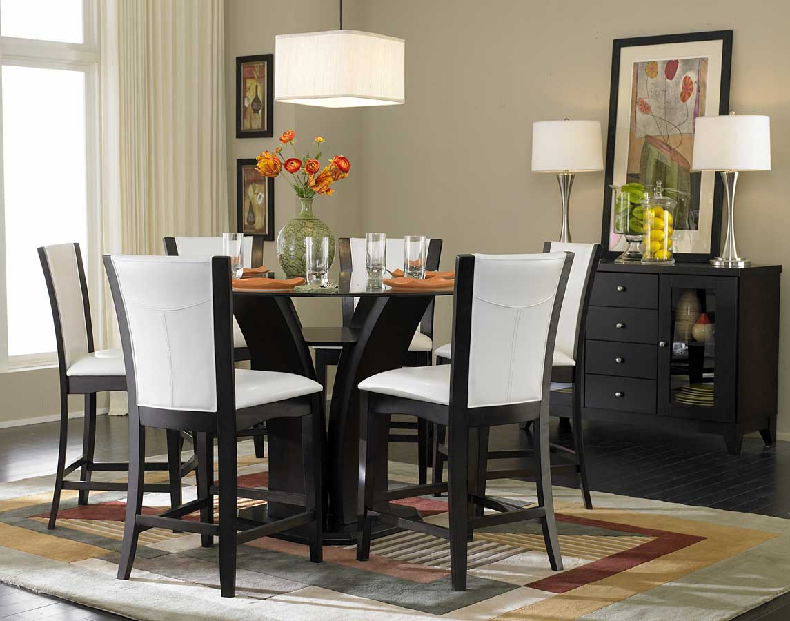 Homelegance Daisy Round Glass Top Counter Height Dining Set D710 ...