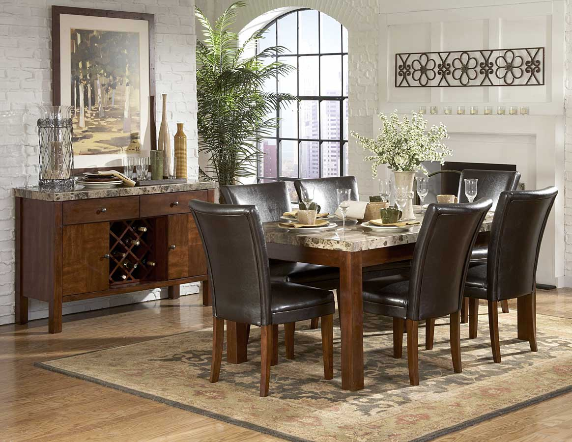 Homelegance Achillea Dining Table with Marble Top M 66 p marble top kitchen table Homelegance Achillea Dining Table with Marble Top