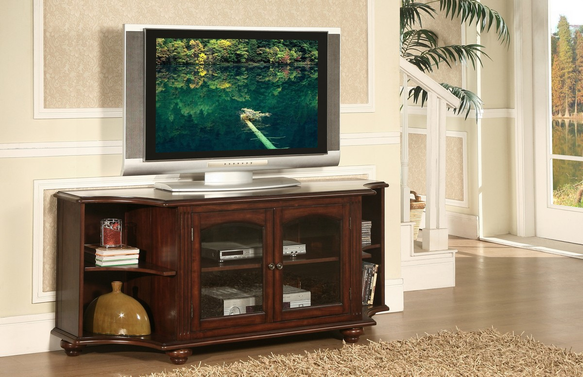 Homelegance Piedmont 60in TV Stand in Cherry Finish
