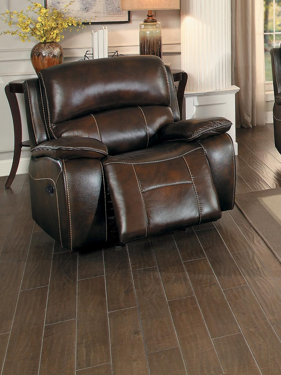 Homelegance Mahala Glider Reclining Chair - Brown Top Grain Leather Match