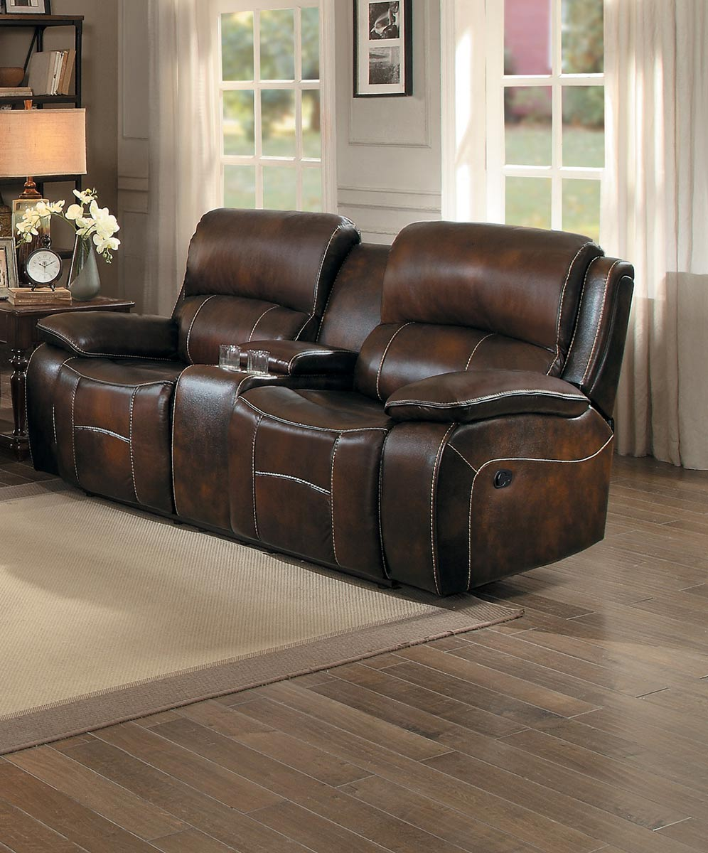 Homelegance Mahala Double Reclining Love Seat with Center Console - Brown Top Grain Leather Match