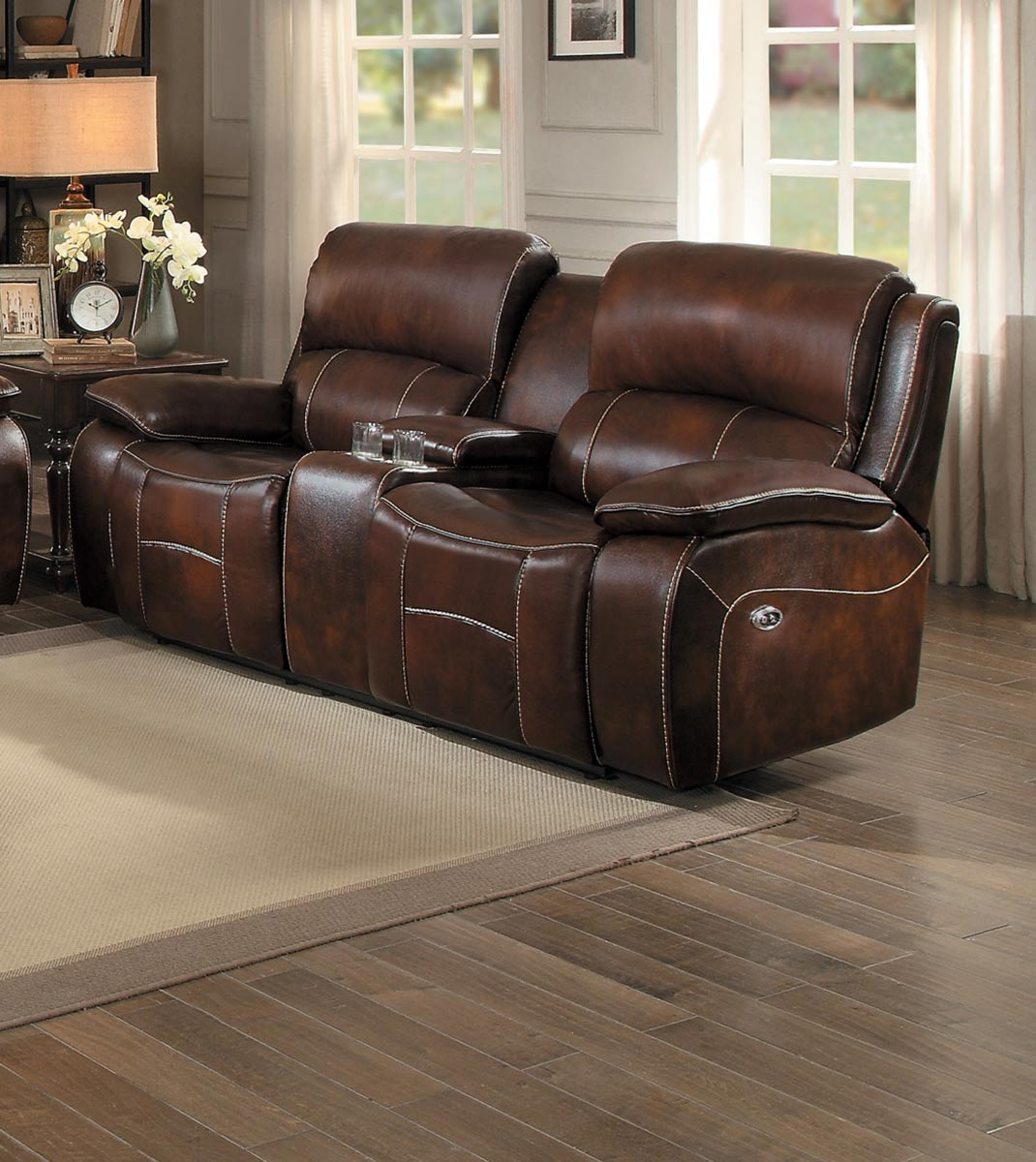 Homelegance Mahala Power Double Reclining Love Seat with Center Console - Brown Top Grain Leather Match