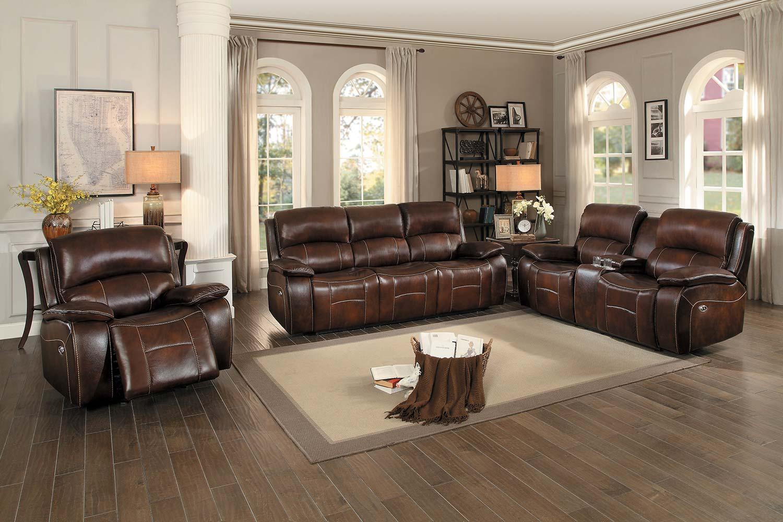 Homelegance Mahala Power Reclining Sofa Set - Brown Top Grain Leather Match