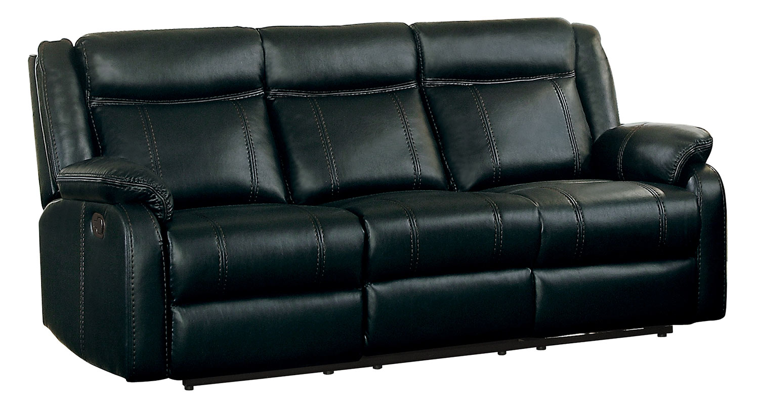 Homelegance Jude Double Reclining Sofa with Drop-Down Table - Black Leather Gel Match