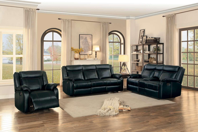 Homelegance Jude Reclining Sofa Set - Black Leather Gel Match