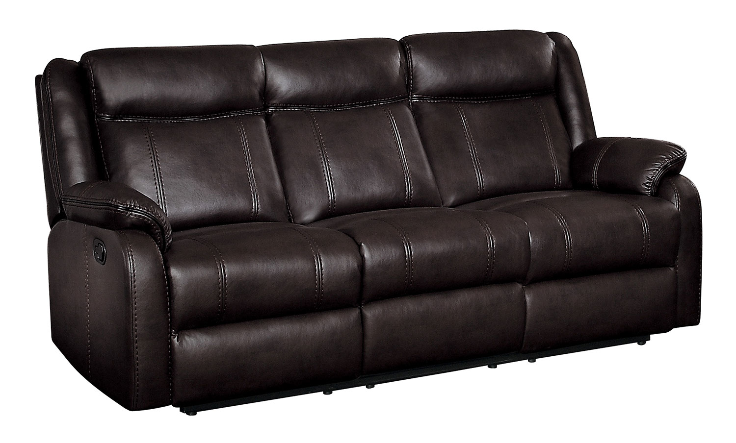 Homelegance Jude Double Reclining Sofa with Drop-Down Table - Dark Brown Leather Gel Match