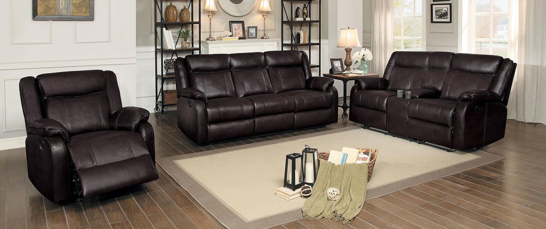 Homelegance Jude Reclining Sofa Set - Dark Brown Leather Gel Match