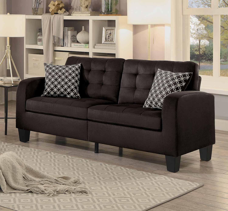 Homelegance Sinclair Sofa - Chocolate Fabric