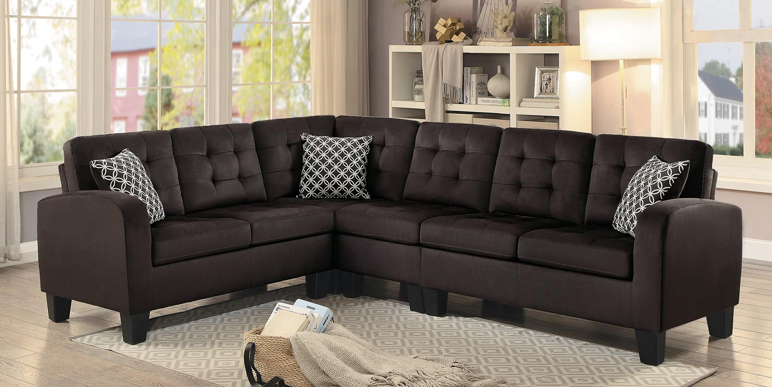 Homelegance Sinclair Reversible Sectional Sofa - Chocolate Fabric