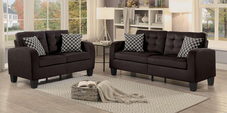Homelegance Sinclair Sofa Set - Chocolate Fabric