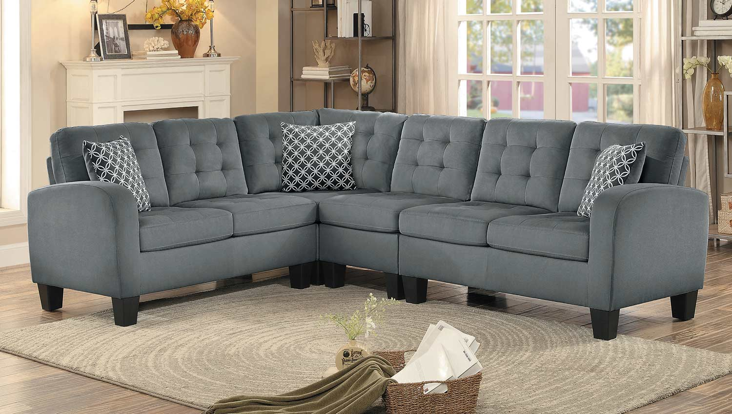 Homelegance Sinclair Reversible Sectional Sofa   Gray Fabric